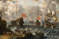 Lorenzo A. Castro, Two Seascapes with Dutch and English Ships - Kunsthaus Lempertz
