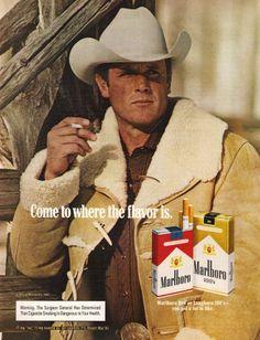 VINTAGE MAGAZINE PRINT AD 1983 MARLBORO CIGARETTES~COWBOY~MARLBORO MAN SMOKING