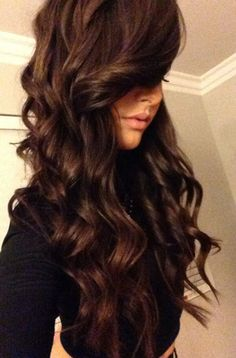 Love the dark chocolate brown color. Also love the length & curls (flat iron curls).