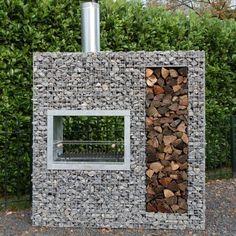 Vertical wooden gabion barbecue - New Deko Sites Gabion Fence, Gabion Wall, Gabion Box, Backyard Patio, Backyard Landscaping, Backyard Fireplace, Fireplace Outdoor, Fireplace Ideas, Landscaping Ideas