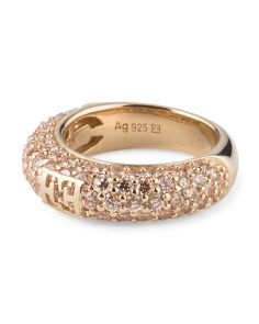 image of Gold Plated Sterling Silver Champagne Logo Ring