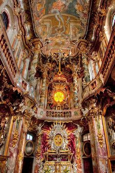 Baroque architecture inside Asamkirche in Munich, Germany