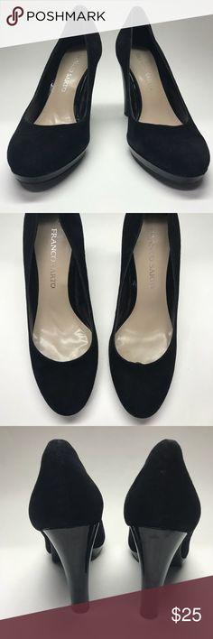 Franco Sarto Balada Suede Platform Heel Franco Sarto platform heel. Black suede upper, patent leather trim and heel. Franco Sarto Shoes