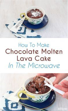 Rich, gooey and indulgent, this chocolate molten lava cake comes together in less than 5 minutes and is the perfect dessert for a party of one (or great individual desserts for a small party!). Seriously easy to make and microwave! http://www.ehow.com/how_5169860_make-cake-microwave-oven.html?utm_source=pinterest.com&utm_medium=referral&utm_content=freestyle&utm_campaign=fanpage
