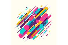Vector illustration of dynamic composition made of colored rounded shapes lines by Zaie on @creativemarket