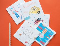 A handy pack of five birthday card for little boys, 5 illustrated birthday cards featuring a pirate bear, mouse, geeky rabbit, aeroplane birthday and scooter punk; all these cards have happy birthday on the front in some form but they are blank inside for your own message.  Perfect to keep handy in a drawer ready for your son or daughter to write out to their friends whenever a birthday party materialises.  You can also find a pack of five girls cards in my shop and a pack of ten cards too…