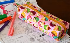 Cupcake print skinny box pouch