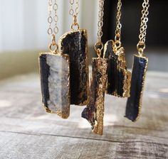 Raw Gemstone Chunk Necklace Healing Stone Black #jewels