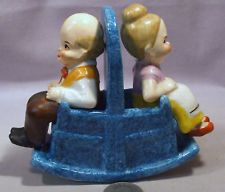 Vintage Three Piece Set W/Grandpa & Grandma in One Piece Rocker S Shakers