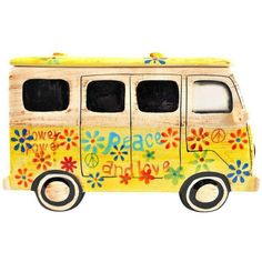 Yellow Hippie Van Ceramic Cookie Jar (£58) ❤ liked on Polyvore featuring home, kitchen & dining, food storage containers, bottles & jars & jugs, ceramic jar, cookie tins, cookie boxes, ceramic cookie jar and biscotti cookie jar