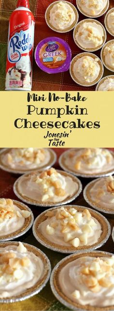 You need just 6 ingredients to make this luscious lightened up Mini No-Bake Pumpkin Cheesecake that takes only 10 minutes to make! #ad #EffortlessPies #CollectiveBias @realreddiwip @dannonoikos