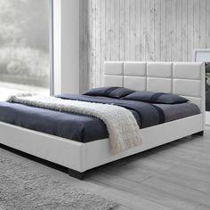 2e9ec58e2a Baxton Studio Vivaldi White Queen Upholstered Bed-28862-6678-HD - The Home