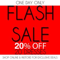 "ONE DAY ONLY! 20% OFF, 20 DRESSES!!! Shop the sale now under the ""Flash Sale"" tab at www.sophieandtrey.com! Starting as low as $19.99 it's the perfect day to find your Valentine's Day look! Want to score these deals in store?Simply share or repost this post or any product included in the sale and show us at checkout! #sophieandtrey #online #flashsale #20percentoff #dresses #vday2014"