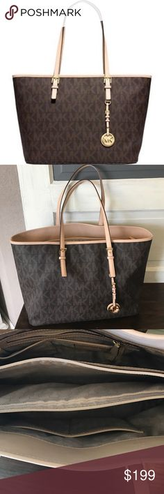MICHAEL KORS Jet Set Travel Signature Tote BROWN GREAT CONDITION! Never used but once! Like new travel tote purse Michael Kors Bags Totes