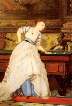 Charles Edouard Boutibonne An Elegant Billiard Player detail, 1869 Club Sportif, Billiards Pool, Victorian Women, Classical Art, France, Old Master, Cool Cats, Female Art, Deco