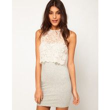 Mini Bodycon Dress With Lace Top