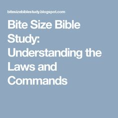 Bite Size Bible Study: Understanding the Laws and Commands