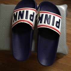 Pinkslides Pinkslide never used price firm. Size large 9-10. Color purple white and red. PINK Victoria's Secret Shoes Slippers