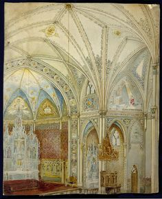 Historic Architectural Rendering of Church Interior