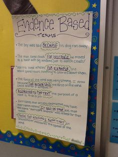 Employing Evidence-Based Terms | 21 Cool Anchor Charts to Teach Close-Reading Skills