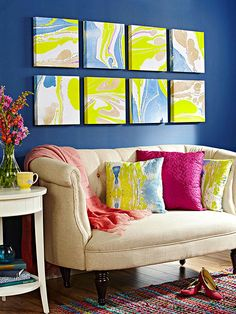 Marbleizing is all the rage! Update any room with fun marbleized canvases.  More weekend home decorating projects: http://www.bhg.com/decorating/do-it-yourself/accents/easy-weekend-decorating-projects/?socsrc=bhgpin060813marble=9