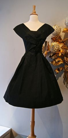 50s Dress // Vintage 1950's Black Silk Cocktail by xtabayvintage, $248.00