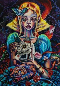 Don't waste my time print Alice in wonderland Alice in Alice In Wonderland Time, Alice In Wonderland Paintings, Female Portrait, Female Art, Wonderland Tattoo, Psy Art, Circus Art, Lowbrow Art, Gothic Art
