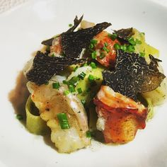 Le Bernardin, Midtown West, NYC   with our king crab, bay scallop and lobster tagliatelle with black truffles in a truffle emulsion     @LeBernardinNY