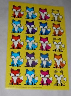 Colorful FOXES sticker sheet