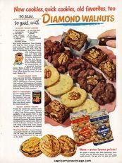 1950 Diamond Walnuts Magazine Ad Cookie Recipes Mid Century Kitsch Retro Kitchen Decor 1950s Vintage Advertising