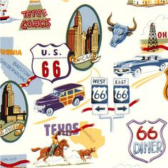 white Route 66 fabric by Alexander Henry car USA 1