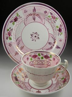 Antique Bailey and Harvey Staffordshire Pink Lustre Trio 2nd of 3 images