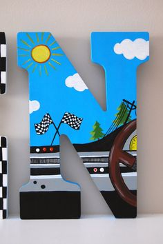 Racecar Theme Hand Painted Wooden Letters: Price is Per