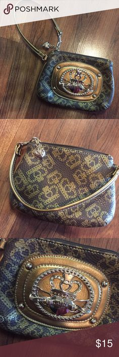Kathy Van Zeeland Clutch Wristlet Maybe used 1x, if that!  No signs of wear.  Slots for cards & room for necessities.  Gold & Brown Kathy Van Zeeland Bags Clutches & Wristlets