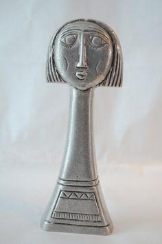 Female head sculpture log neck cropped hair sculpture by ArktosArt