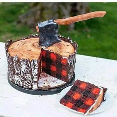 Lumberjack cake!!! Plaid cake! Tree trunk cake! Cake ax even!
