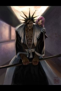 Kenpachi, the best character in the anime [Bleach]! (but I think Yachiru Kusajishi is stronger)