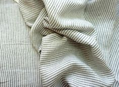 ✿ ✿ ✿ ✿ ✿ This is natural pure linen fabric with softening. Delicate thin fabric with white & light gray stripes . Great for any project, specially for