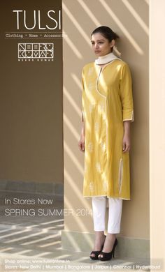 Fashion - Happiest colur in monsoons I like this design might make something similar Kurti Neck Designs, Dress Neck Designs, Salwar Designs, Indian Attire, Indian Wear, Indian Dresses, Indian Outfits, Fashion Wear, Fashion Outfits