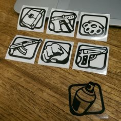 I made some San Andreas weapon icon stickers with our printer at work Gamer Tattoos, Funny Tattoos, Tattoos For Guys, Dibujos Tattoo, Desenho Tattoo, Sketch Tattoo Design, Tattoo Sketches, Graffiti Drawing, Graffiti Art