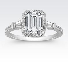 ShaneCo.com: Halo Baguette and Round Diamond Engagement Ring