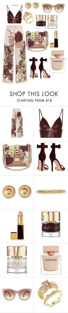 """""""Goodmorning 😽"""" by aleecialynnstyles ❤ liked on Polyvore featuring Valentino, T By Alexander Wang, Gianvito Rossi, Versace, AMBUSH, Tom Ford, Smith & Cult and Narciso Rodriguez"""