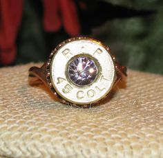 Remington 45 Colt bullet casing ring with lavender swarovski crystal