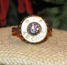 Remington 45 Colt bullet casing ring with lavender swarovski crystal