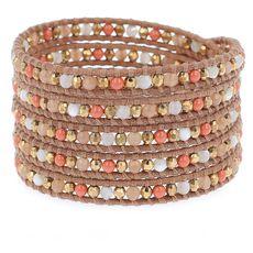 Salmon Mix Beaded Wrap Bracelet on Beige Leather