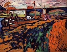 Barges in Chatou - Maurice de Vlaminck