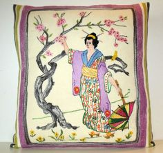Embroidered Statement Pillow Cushion Japanese Oriental Chinoiserie Satin Stitch Silks One only