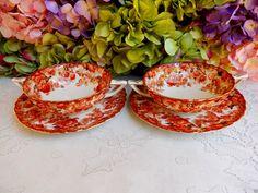 2 Radfords Victorian Bone China Porcelain Cream Soup Cups & Saucers Floral Gold #Radfords