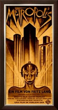 Futuristic tall Skyscraper on a poster for Metropolis a 1927 German expressionist epic silent science fiction drama film directed by Fritz Lang Poster Print by Unknown 18 x 24