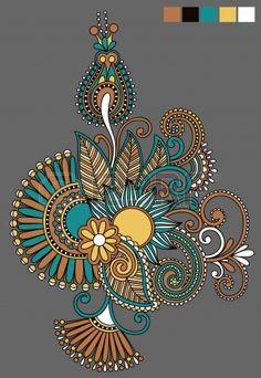 Illustration of original hand draw line art ornate flower design. Ukrainian traditional style vector art, clipart and stock vectors. Mandala Art, Mandala Painting, Mandala Drawing, Dot Art Painting, Fabric Painting, Paisley Art, Paisley Design, Fleur Design, Pattern Art